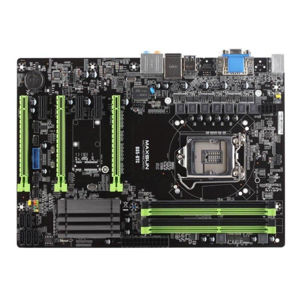 MAXSUN MS-B85-BTC Motherboard Systemboard for Intel B85/LGA1150 Socket Processor DDR3 ATX Mainboard for Miner Mining Desktop ms g41mdl ddr3 g41l motherboard