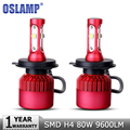 Oslamp H4 High Low Beam LED Car Headlight Bulb SMD CREE Chips 80W 9600LM 6500K Auto Led Headlamp Fog Light Car Lighting 12v 24v
