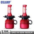 Oslamp h4 alta médios farol do carro lâmpada led smd fichas cree 80 W 9600LM 6500 K Auto Led Fog Luz do Farol Do Carro Iluminação 12 v 24 v