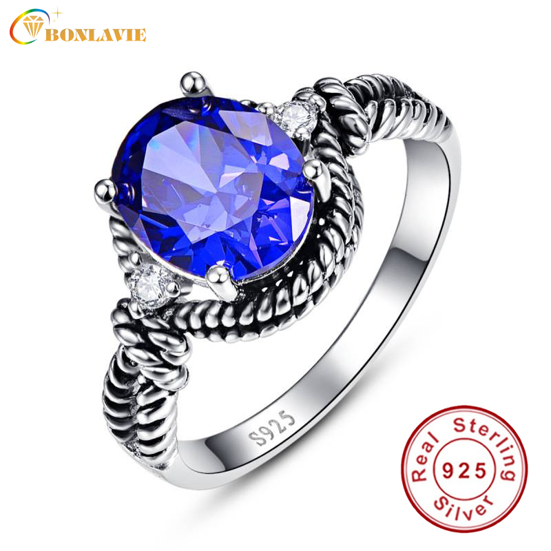 BONLAVIE 925 Sterling Silver Promise Engagement Luxury Ring Twisted Design Ring 3.5 Carat Blue Tanzanite Cocktail Party Ring
