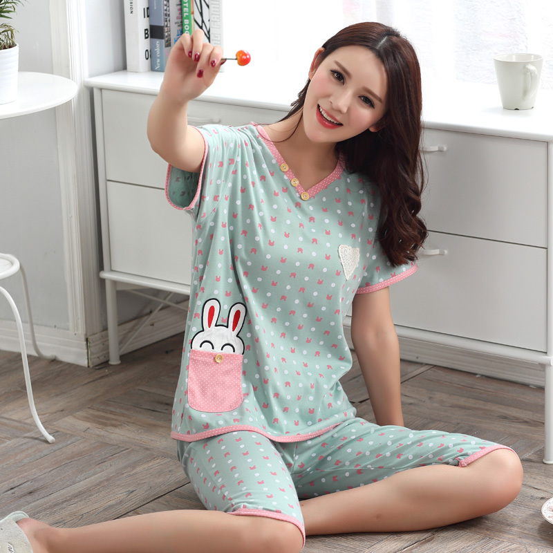 Plus Size XXXL Cotton V-neck Pajama Set For Women 2018 Summer Short Sleeve Pyjama Girls Knee Length Loungewear Homewear Clothing