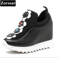 Zorssar 2017 NEW Fashion Flowers Genuine Leather Womens Platform Creeper Shoes Casual Flat Swing Shoes