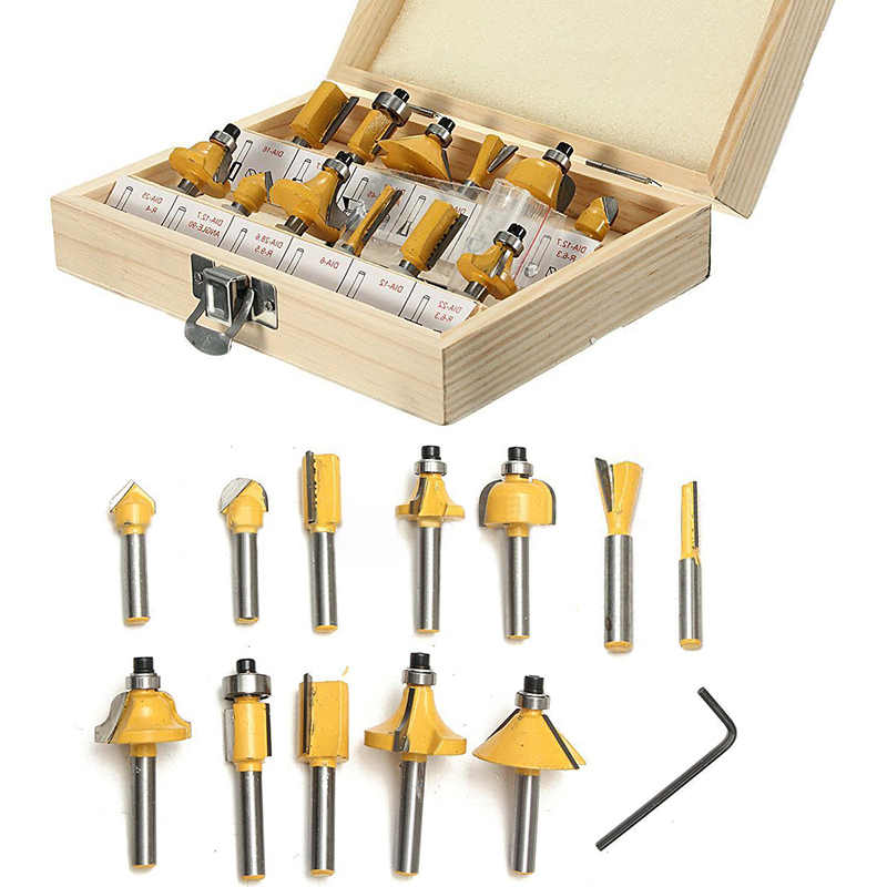 12pcs/set New Arrival 1/4'' Shank Carbide Router Bit Set with Wooden Box For Woodworking Cutter Tool [15 pcs router bit set] woodworking milling cutters for wood router woodworking machine free shipping yg8 carbide wooden box