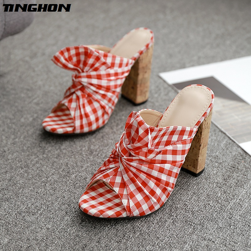 TINGHON NEW Red checked cloth Gladiator Summer Fashion Ladies Slipper Shallow Square Hight Heel Women Shoes Wear Outside Shoes in Slippers from Shoes