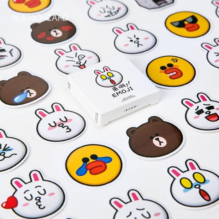 45pcs/pack Bear Rabbit Face Decorative Stickers Adhesive Stickers Scrapbooking Diy Decoration Diary Album Stick Label