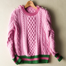 2016 Winter Woman Top Fashion Designing Solid Thick Sweater Striped Patchwork Quality Runway Knitted Sweaters