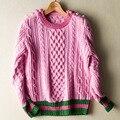 Mulher do Inverno 2016 Top Design de Moda Sólidos Grosso Suéter Listrado Patchwork Qualidade Runway Blusas de Malha
