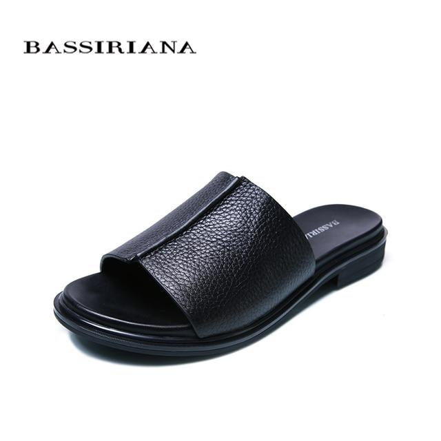 Bassiriana/Новые 2018 натуральная кожа Обувь женские шлепанцы летние сандалии повседневная обувь на плоской подошве с вышивкой красный черный, белый цвет размер 35-41