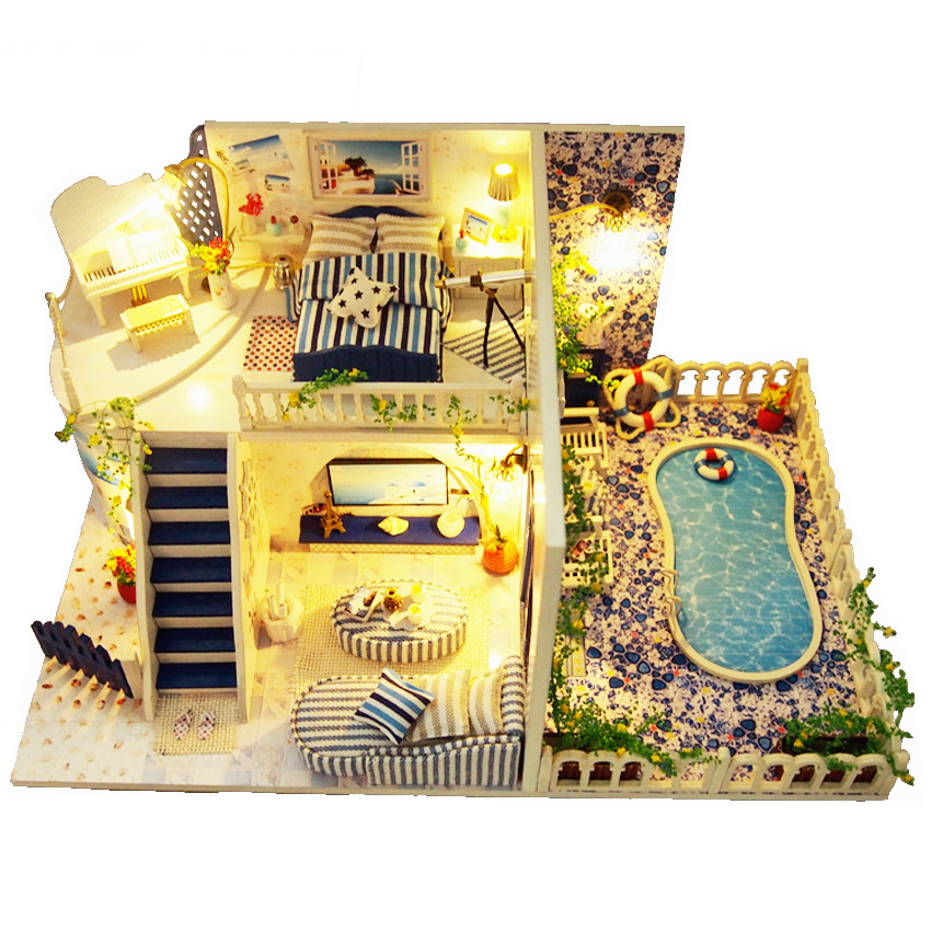 Doll Houses Diy Wooden Furniture Miniatura Handmade Doll House Miniature 3D Dollhouse Toys For Children Grownups Christmas Gift large size diy wooden miniatura doll house with light music furniture handmade 3d miniature dollhouse toys wedding gits
