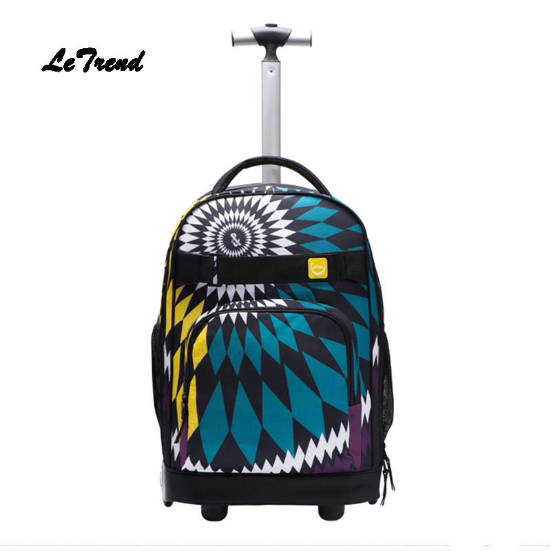 LeTrend Fashion SchoolBag Travel Bag large capacity Rolling Luggage Suitcases Wheel Cabin Shoulder Bags Multifunction Backpack letrend waterproof travel bag large capacity folding suitcases wheel trolley women rolling luggage handbag