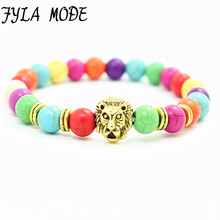 Gold Leo Lion Stone Beaded Bracelets Bangles bijoux pulseras Rope Chain Natural Stone Howlite Bracelets Women Men Jewelry