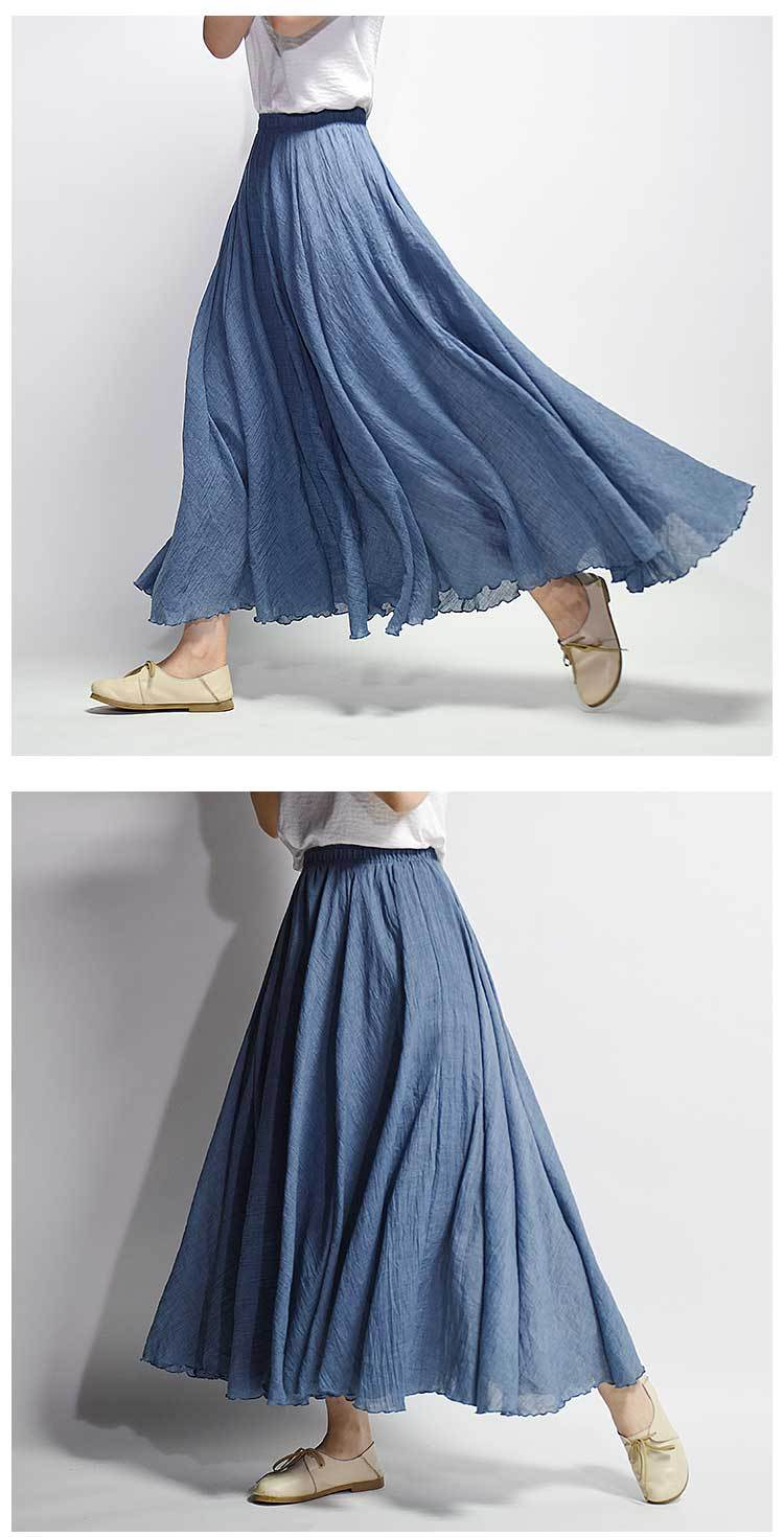 Sherhure 19 Women Linen Cotton Long Skirts Elastic Waist Pleated Maxi Skirts Beach Boho Vintage Summer Skirts Faldas Saia 23