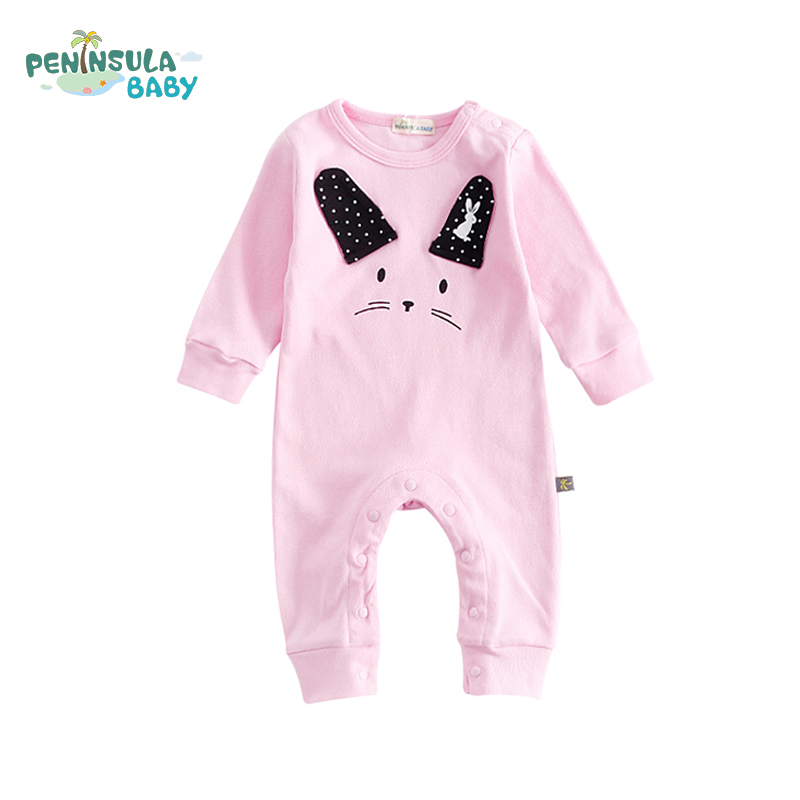 Cute Cartoon Rabbit Baby Rompers Cotton Roupa Infantil Newborn Clothes Long Sleeve Baby Girl Boy Clothing Fall Jumpsuit maggie s walker baby rompers outfits boys long sleeve banana luxury organic cotton climb clothes toddler girls roupa infantil