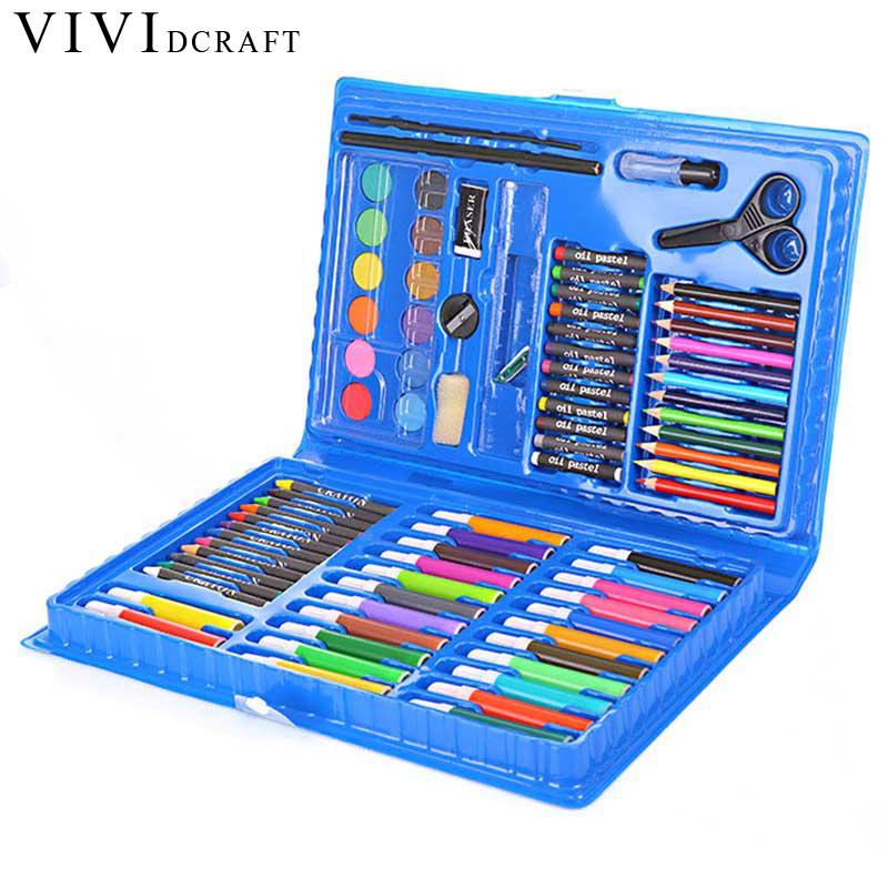 Vividcraft Stationery Set Escolar Children Painting Supplies 86 pcs/Lot Portable Watercolor Pen Set Drawing Pencil Kit Gift Set wj003 hot new rushed kit escolar bolso stationery set gift primary children birthday school tools supplies essential papelaria