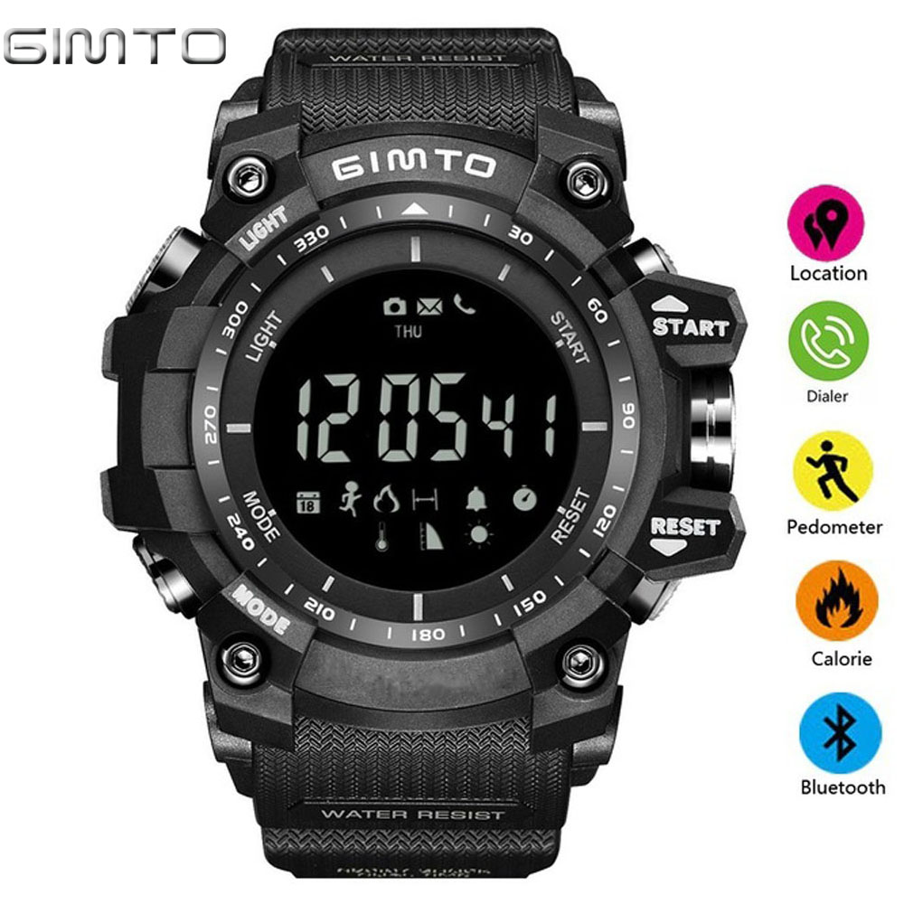 GIMTO New Men's Smart Sport Watches Stopwatch Digital LED electronic Clock Man Army Military Waterproof Watch Relogio Masculino