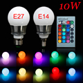 10W LED RGB Bulb Lamp AC85-265V E27 E14 LED Spot Blubs Stage Light Magic Holiday RGB lighting+Remote Control LED Bulb 5PCS/LOT
