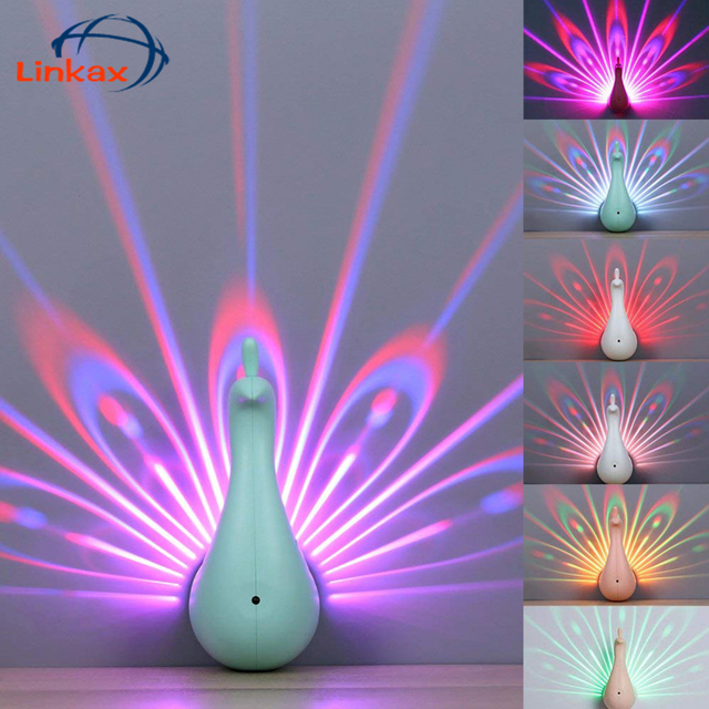 3d Peacock Shape Led Projection Wall Lamp Remote Control Night Wall