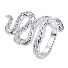 cute snake shiny Silver plated Ring Fashion Jewerly Ring Women&Men , /BKPBMZLQ MSFQWVQE