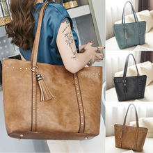 цена на Rivet PU Leather Tote Women Tassel Handbag Casual Women Shoulder Bag Female Large Capacity Designer Messenger Bags for Women