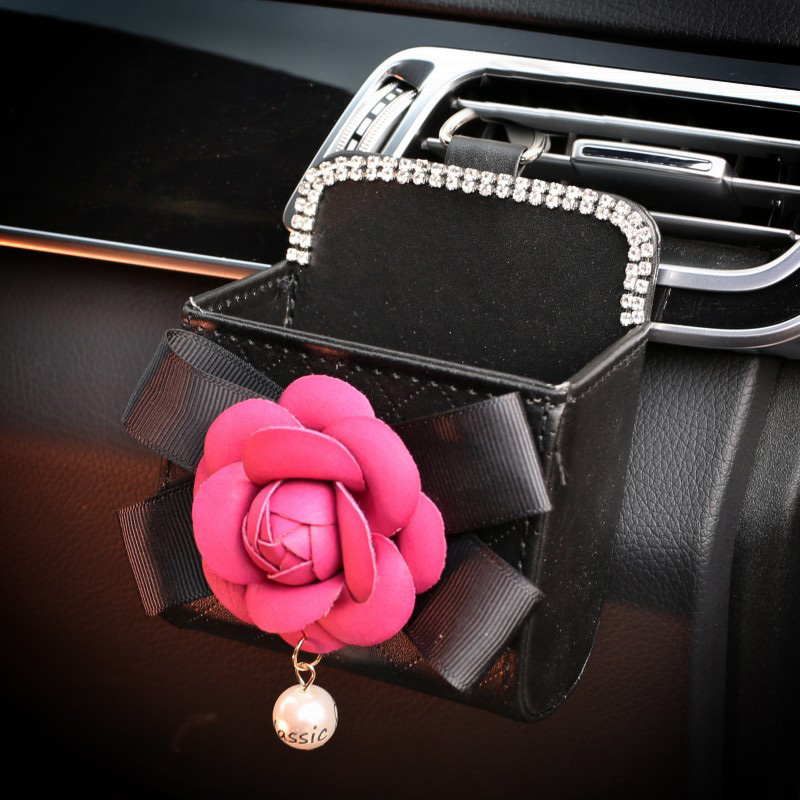 Camellia Flower Crystal Car Outlet Air Vent Trash Box Auto Mobile Phone Holder Bag Pouch Organizer Hanging Box Car Accessorie