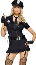 Sexy Women Police Costume Halloween Cosplay Dirty Cop Dress Police Party Costumes Police Uniform Style Dress + Tie + Belt + Cap(China)