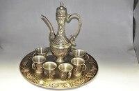 Théière et tasse et plateau en argent plaqué or antique chinois