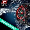 Новая Мода TTLIFE Бренд Мужской Спортивные Часы СВЕТОДИОДНЫЕ Электронные Цифровые Часы 50 М Водонепроницаемый Открытый Наручные Часы Военные Часы