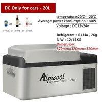 20 Degrees Freeze Fridge 20L Multi Function 12V/24V Portable Compressor Car Refrigerator High Quality Auto Cooler Freezer
