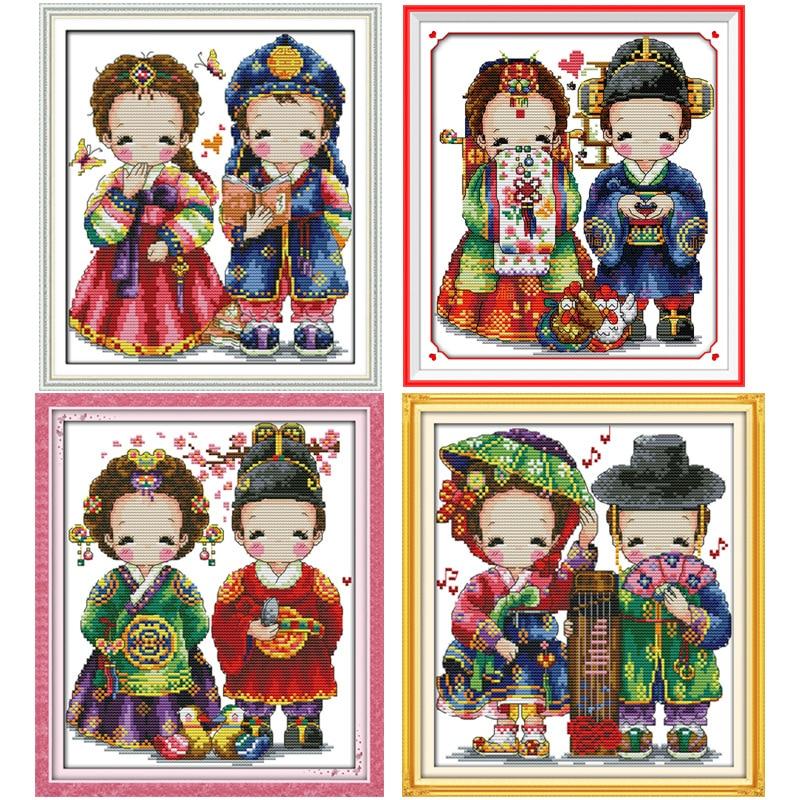 Lyckligt koreanskt bröllop räknat tryckt på tyg DMC 14CT 11CT - Konst, hantverk och sömnad