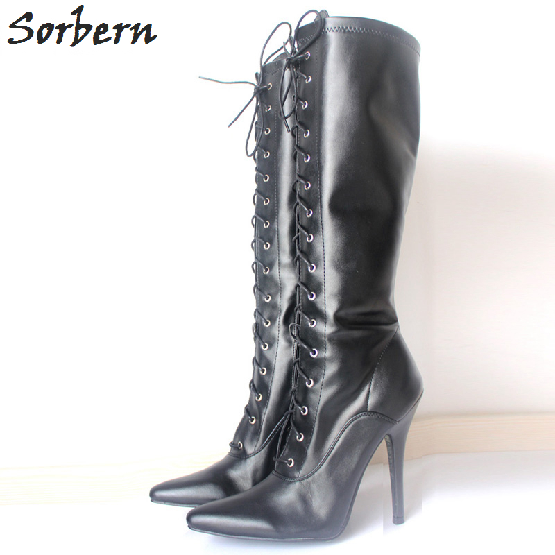 Sorbern Mature Cross-Tie Sexy Fetish Shoes 12Cm Stilettos High Heels Boots For Women Lace-Up Pointed Toe Long Boots Ladies Shoes