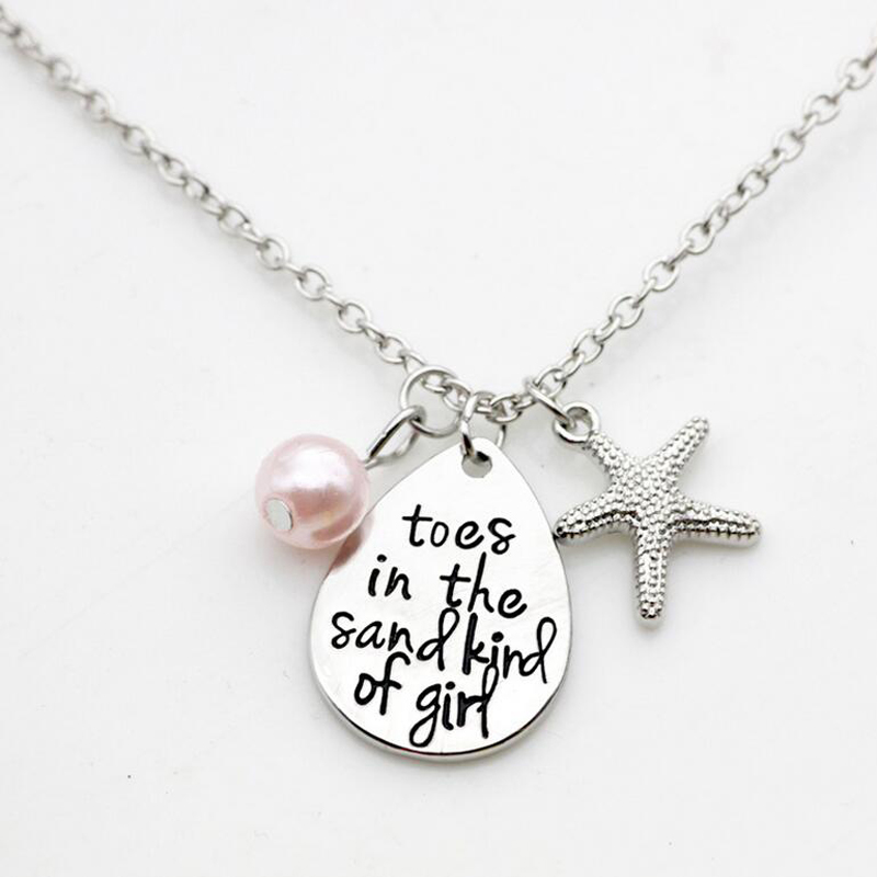 Toes in the sand kind of girl Charm Necklace Christmas Gift Starfish Beach Jewelry