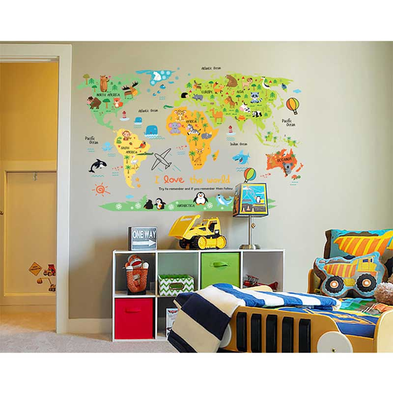 US $3.79 32% OFF|Hot Sale Cartoon Safari Animals World Map Nursery Wall  Stickers for Kids Room Decoration Letters Global Maps-in Wall Stickers from  ...