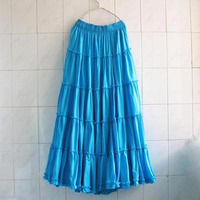 2016 CottonFashion Women Linen Cotton Long Skirts Elastic Waist Pleated Maxi Skirts Beach Boho Vintage Summer