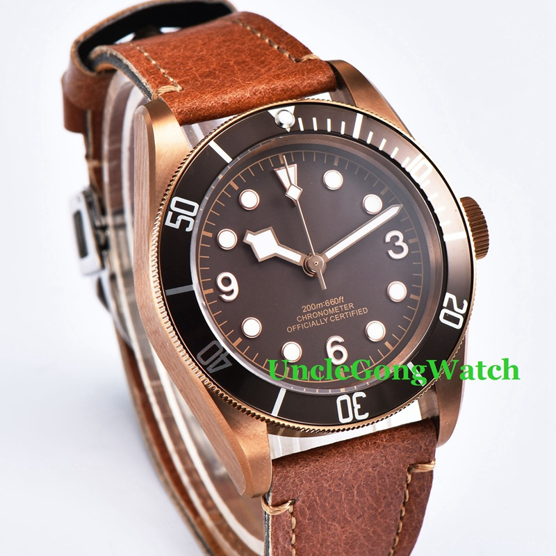 41mm Brass PVD Coated Case Sapphire Glass Sterile Coffee Dial Clock Luminous Mens Miyota Automatic Watch цена и фото