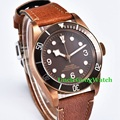 Corgeut 41mm Brass PVD Coated Case Mens Automatic Watch Sapphire Glass Sterile Coffee Dial Clock Luminous Timepiece WCA2010BZ