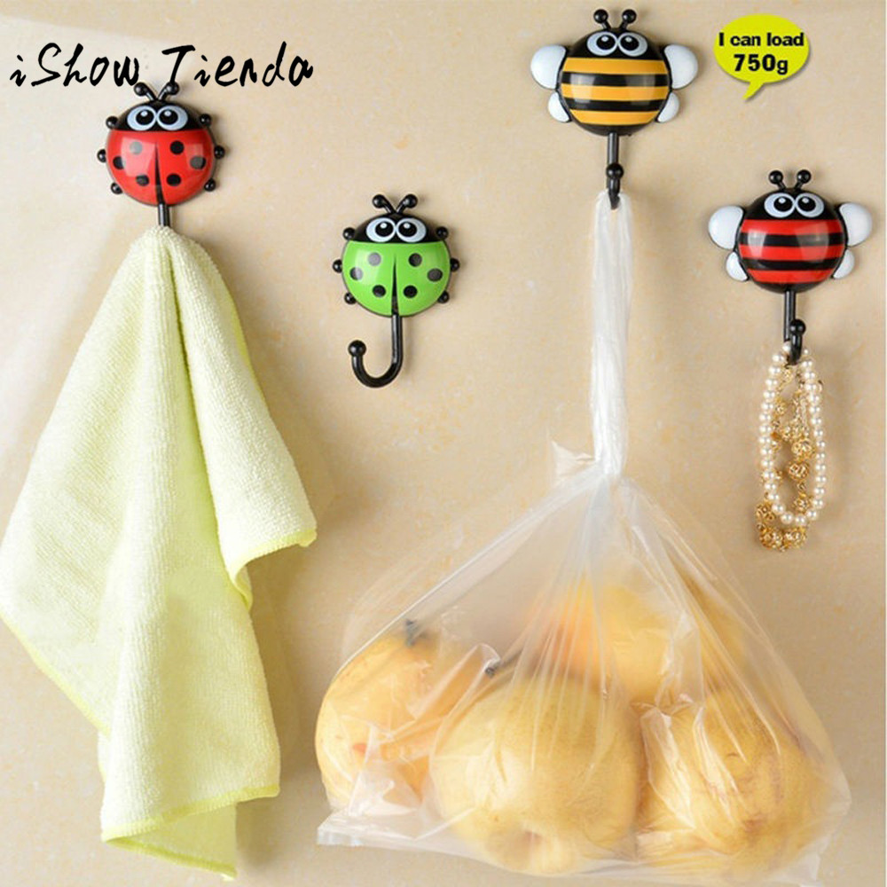 2PCS Creative Ladybug Bee Cartoon Bathroom Wall Hooks Sucker Nail ...