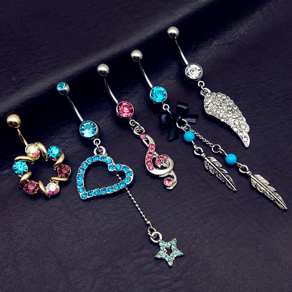 5pcs Mix Vintage Blue Wings Note Star Bow Long Dangle Navel Belly Bar Button Rings Body Piercing Jewelry