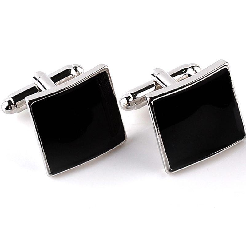 Formal Occasion Business Cufflinks Square Black Big Brand Mens French Cuff Links For Sleeve Geometric Rectangle
