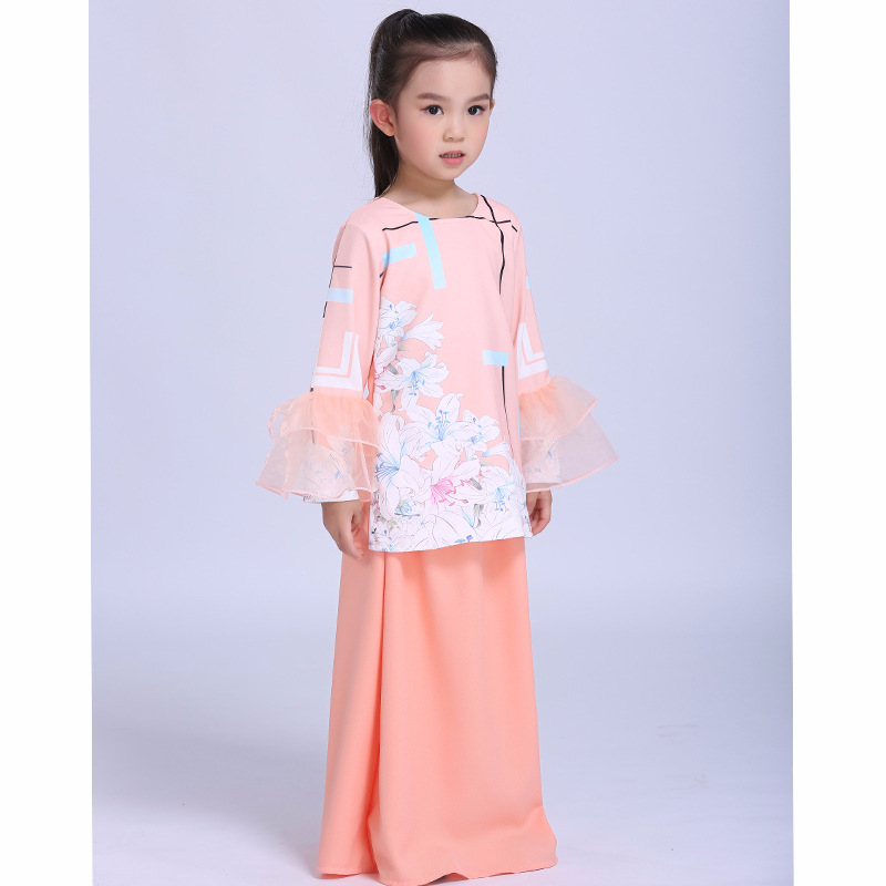 2018 Muslim Abaya Islamic Children Orange Dress Children Girl Printed Flowers Dress 2018 Malaysia Kids New Year Dress islamic banking efficiency