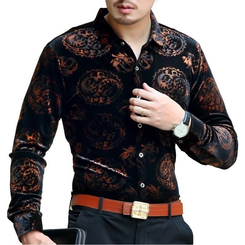 Black Gold Velour Shirt Men Long Sleeve Luxury Gold Velvet Shirt Business Casual Office Shirt Party Club Velvet Shirts For Men