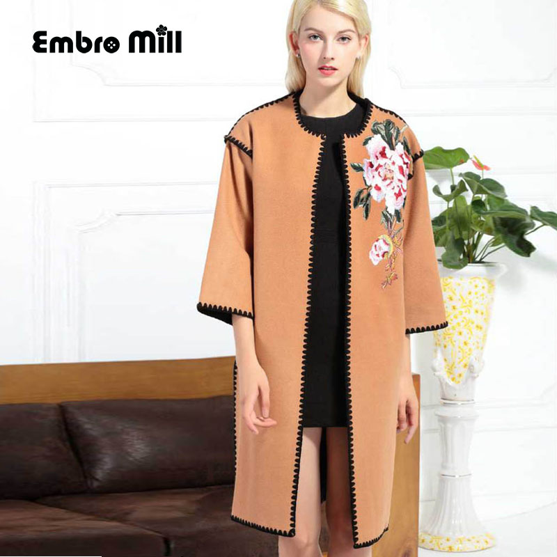 Women runway fashion embroidery Dudan flower   trench   coat Suede Fabric plus size O-neck 3/4 sleeve elegant lady coat M-2XL