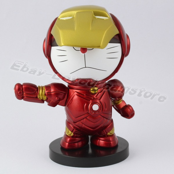 FREE SHIPPING Japanese Animation Cool Style Cute Doraemon Cosplay Iron Man 8cm 32 PVC Action Figure Toy No Box In Figures From