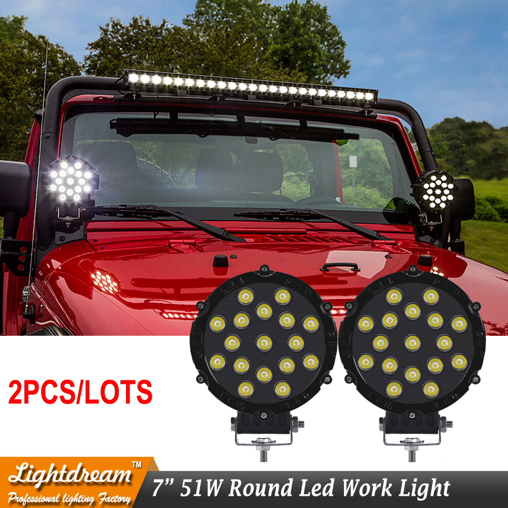 7 Inch 51W Car Round LED Work Light 12V High Power 17Leds 3W Spot Flood 4x4 Offroad Truck Tractor ATV SUV Driving Fog Lamp x2pc 4pcs lot 200w led work light 20pcs 10w high intensity cree leds 200w led work light led lamp