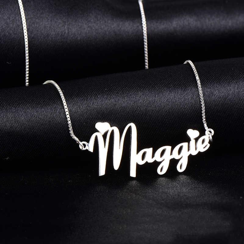 パーソナライズネームネックレス女性 Namenecklaces & ペンダントステンレス鋼カスタムネックレスジュエリーギフトママドロップシッピング