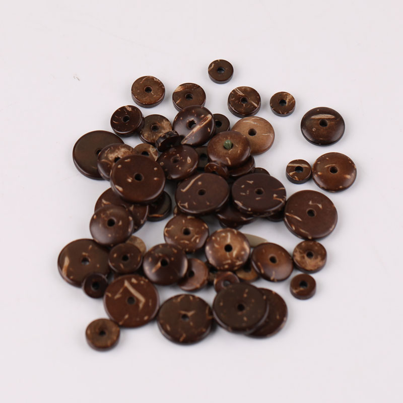 6/8/10/12mm Natural Coconut husk Spacer Beads Flat Round Beads for DIY Bracelet Jewelry Making Pack of 100pcs(China)