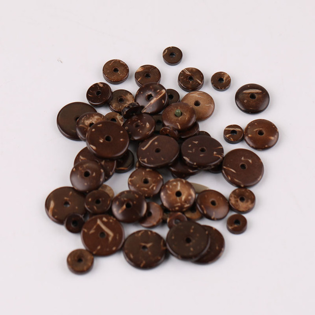 6/8/10/12mm Natural Coconut husk Spacer Beads Flat Round Beads for DIY Bracelet Jewelry Making Pack of 100pcs