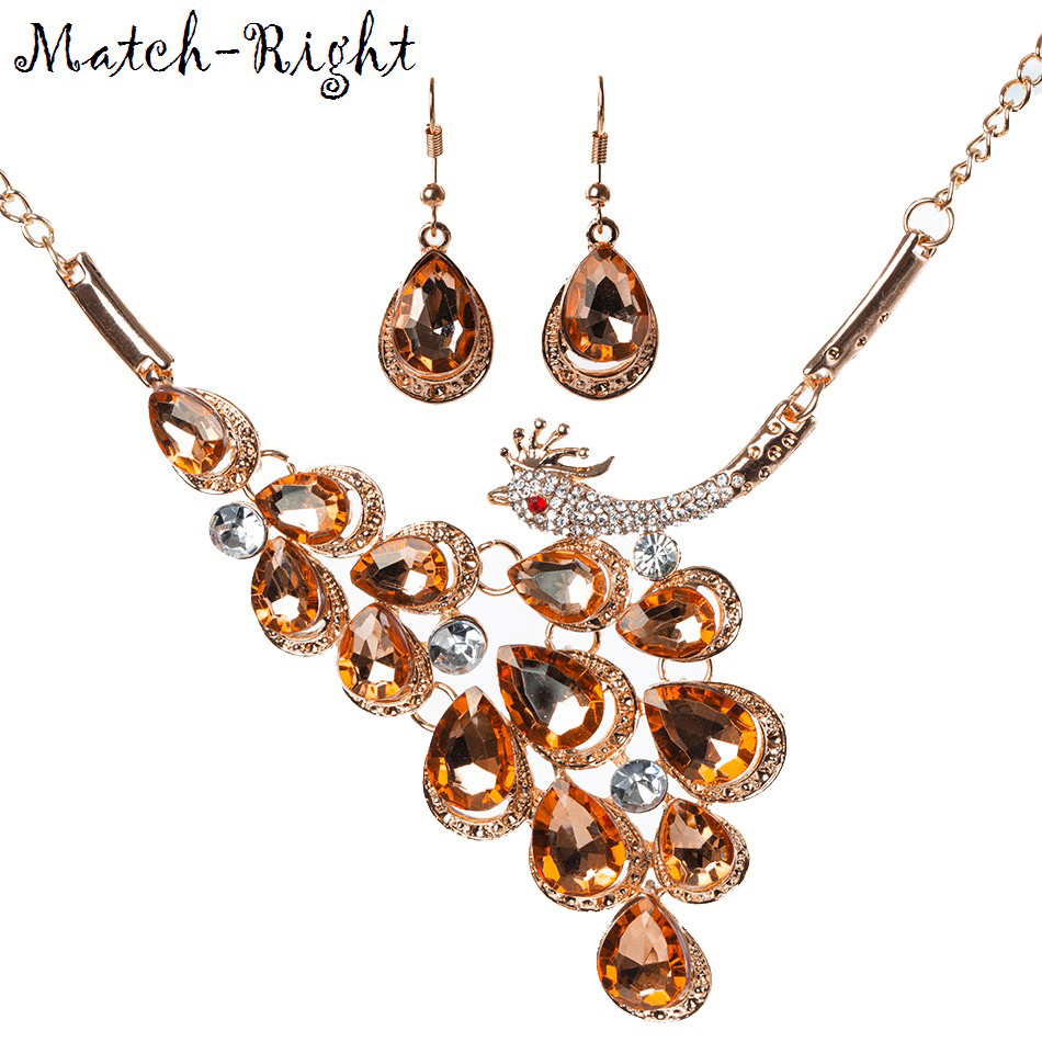 Match-Right Women Necklace Statement Crystal Necklaces & Pendants Peacock Necklace For Women Jewelry NL615
