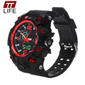 TTLIFE Branded Mens Watches Dual Movement Sports Electronic LED Display Analog Waterproof Quartz Digital Wrist Watches for Men