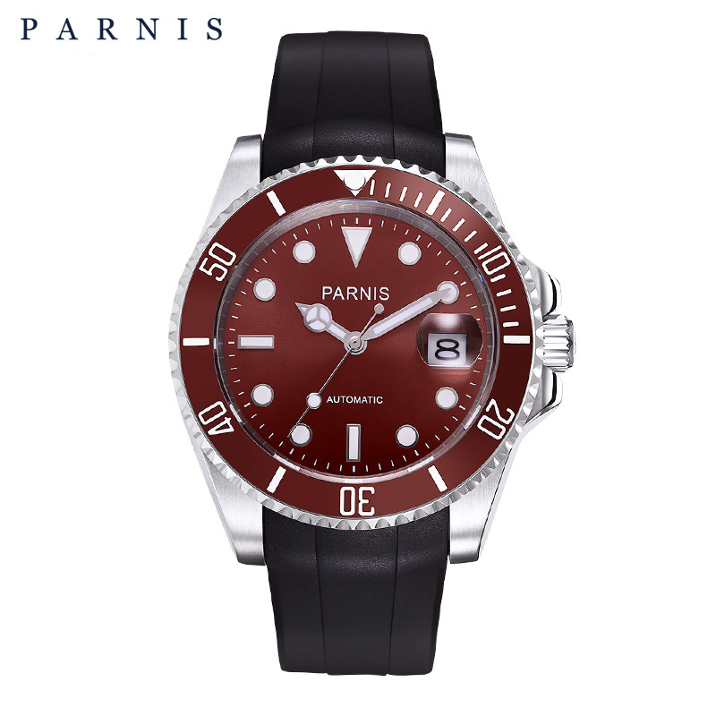 Parnis 40mm Ceramic Automatic Watch Men Top Brand Luxury Mens Sports Watches Rubber Luminous 30M Swiming WaterproofParnis 40mm Ceramic Automatic Watch Men Top Brand Luxury Mens Sports Watches Rubber Luminous 30M Swiming Waterproof