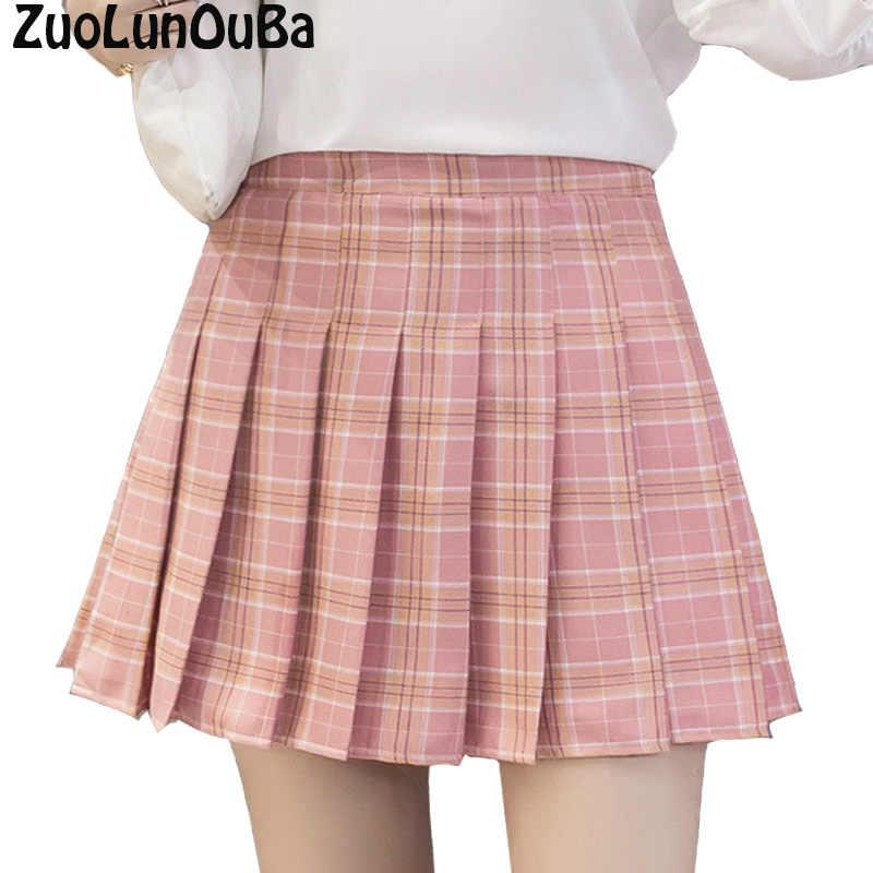 61cd43049e Pink Plaid Pleated Skirt Women2018 New Female High Waist Harajuku Denim  Skirts Japanese College Wind A
